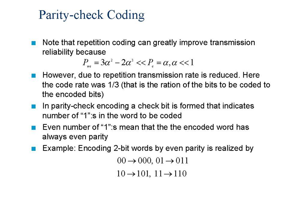 Data Communication, Lecture 119 Parity-check Error Probability