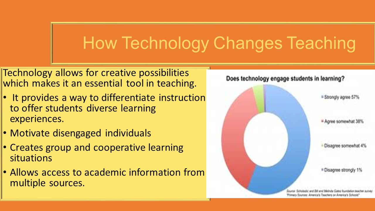 How Technology Changes Teaching Technology allows for creative possibilities which makes it an essential tool in teaching. It provides a way to differ