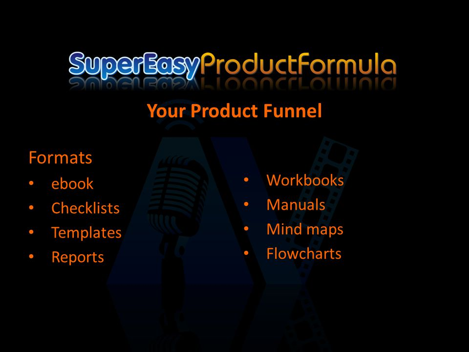 Formats ebook Checklists Templates Reports Workbooks Manuals Mind maps Flowcharts Your Product Funnel