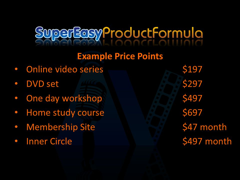 Online video series$197 DVD set$297 One day workshop$497 Home study course$697 Membership Site$47 month Inner Circle$497 month Example Price Points