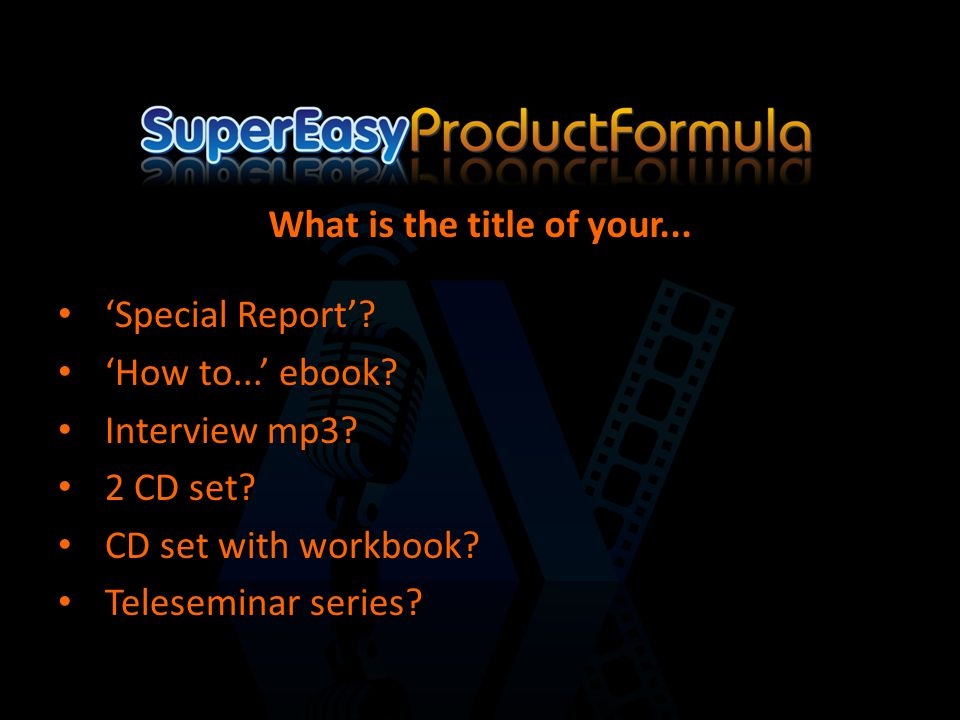 'Special Report'. 'How to...' ebook. Interview mp3.
