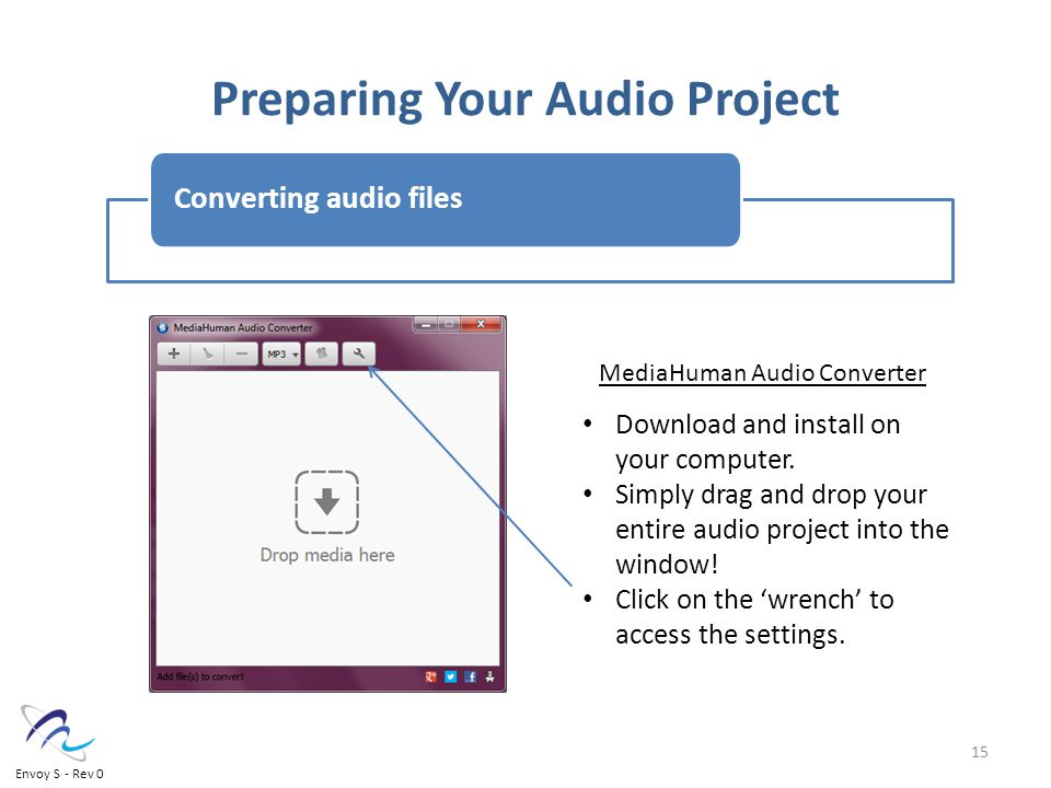 Preparing Your Audio Project Converting audio files Download and install on your computer.