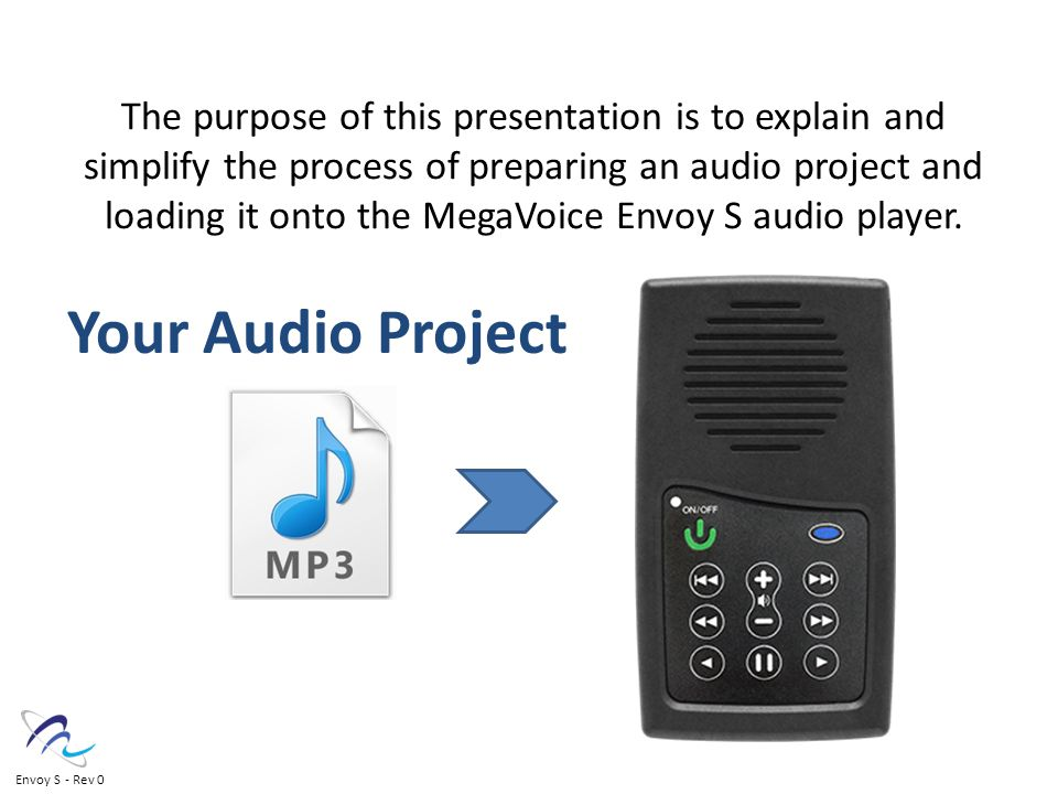 The purpose of this presentation is to explain and simplify the process of preparing an audio project and loading it onto the MegaVoice Envoy S audio player.