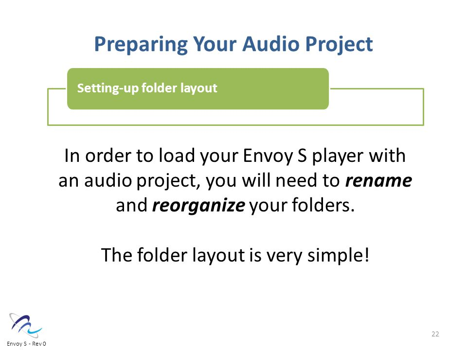 Preparing Your Audio Project In order to load your Envoy S player with an audio project, you will need to rename and reorganize your folders.