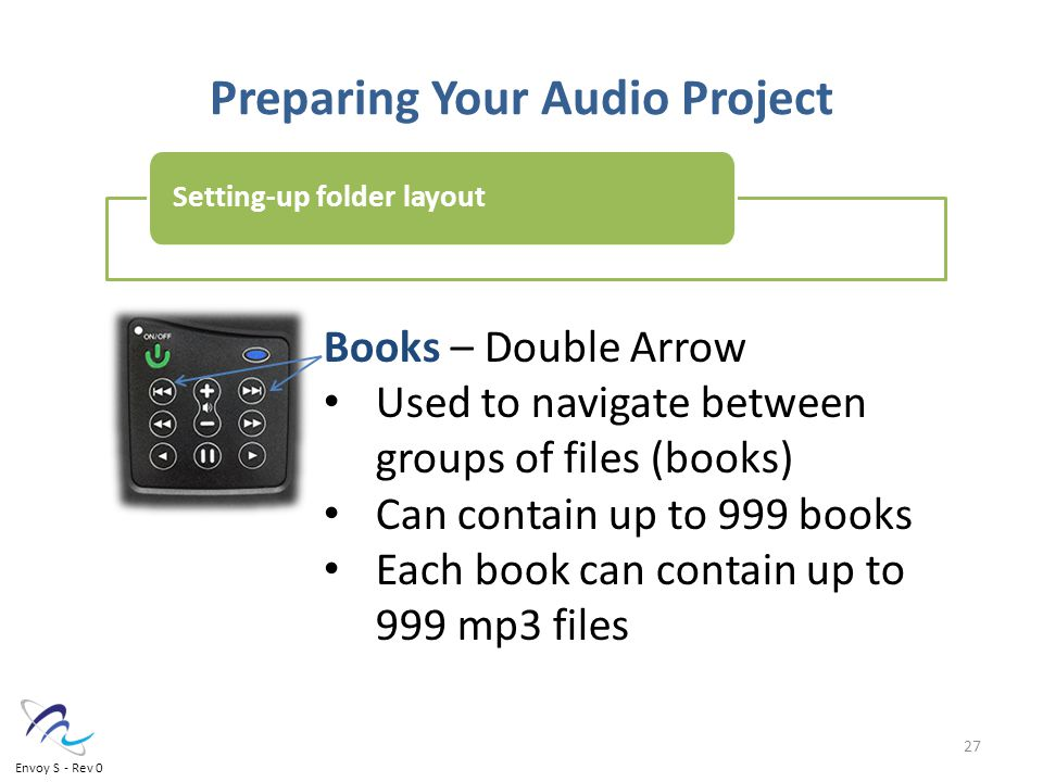 Preparing Your Audio Project Books – Double Arrow Used to navigate between groups of files (books) Can contain up to 999 books Each book can contain up to 999 mp3 files Setting-up folder layout 27 Envoy S - Rev 0