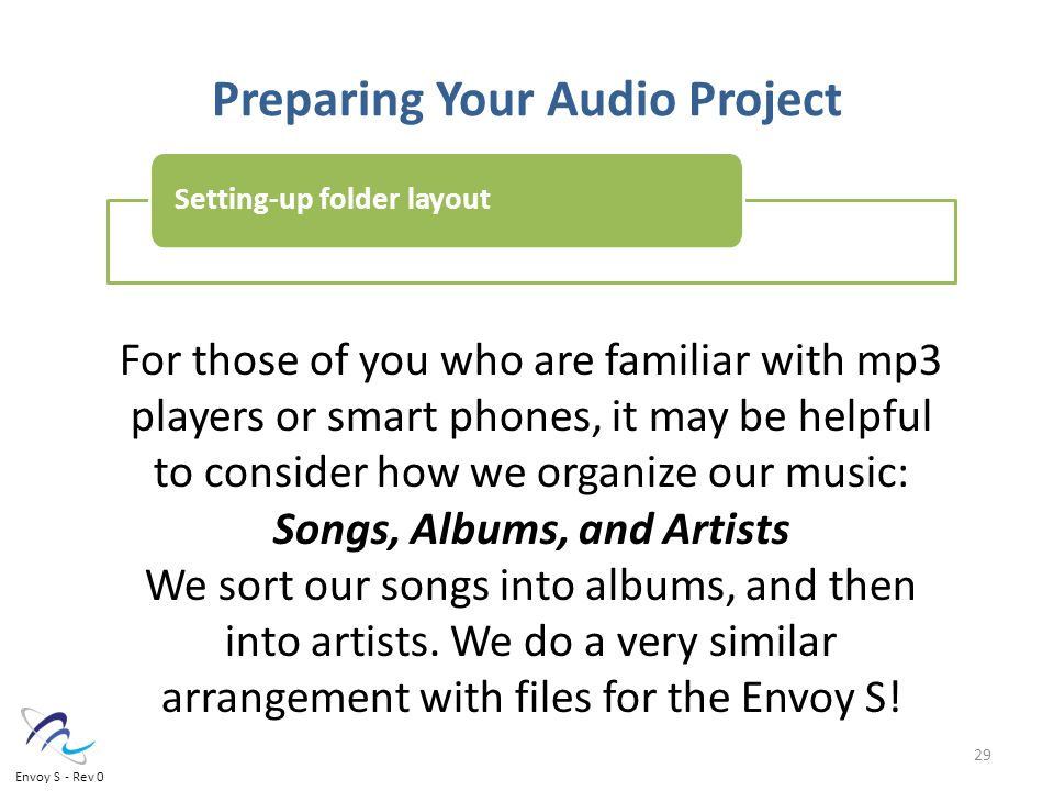Preparing Your Audio Project For those of you who are familiar with mp3 players or smart phones, it may be helpful to consider how we organize our music: Songs, Albums, and Artists We sort our songs into albums, and then into artists.