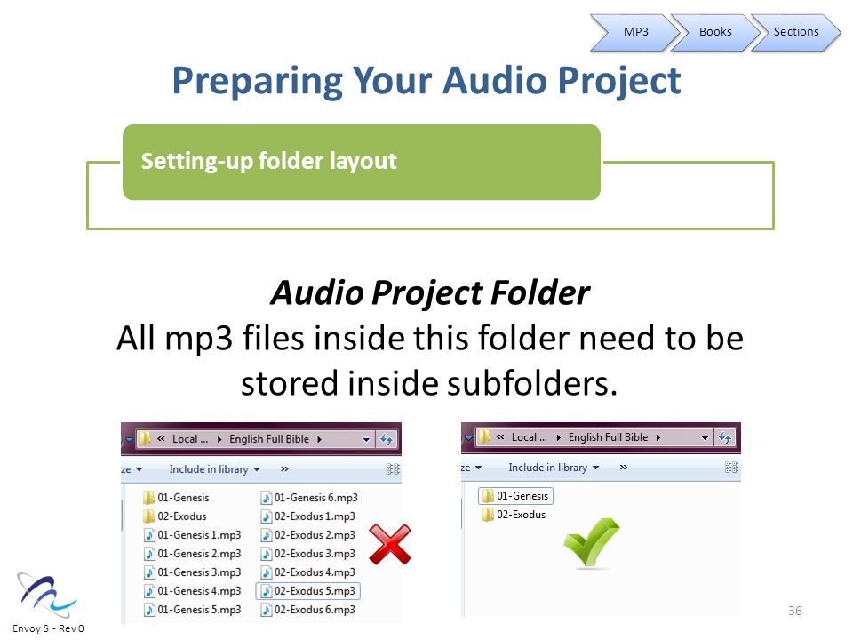 Preparing Your Audio Project Audio Project Folder All mp3 files inside this folder need to be stored inside subfolders.