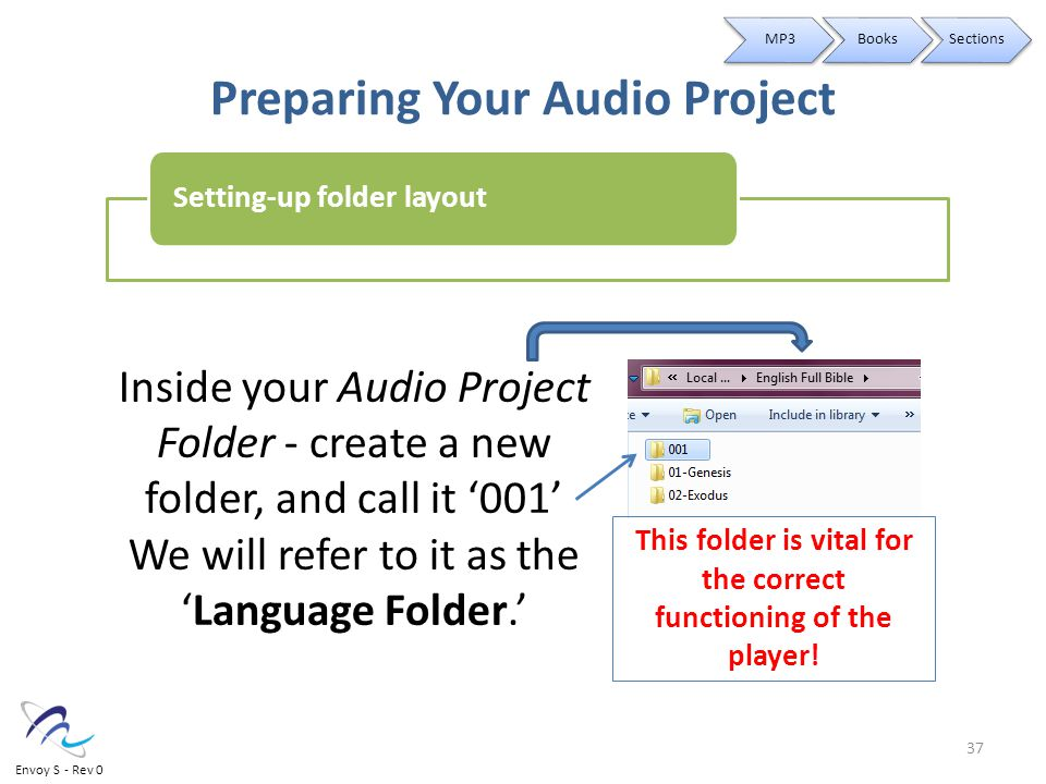Preparing Your Audio Project Inside your Audio Project Folder - create a new folder, and call it '001' We will refer to it as the 'Language Folder.' This folder is vital for the correct functioning of the player.