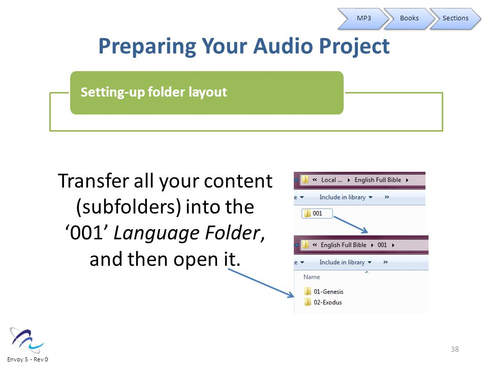 Preparing Your Audio Project Transfer all your content (subfolders) into the '001' Language Folder, and then open it.