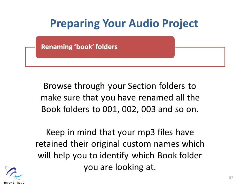 Preparing Your Audio Project Browse through your Section folders to make sure that you have renamed all the Book folders to 001, 002, 003 and so on.