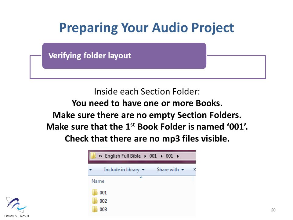 Preparing Your Audio Project Inside each Section Folder: You need to have one or more Books.