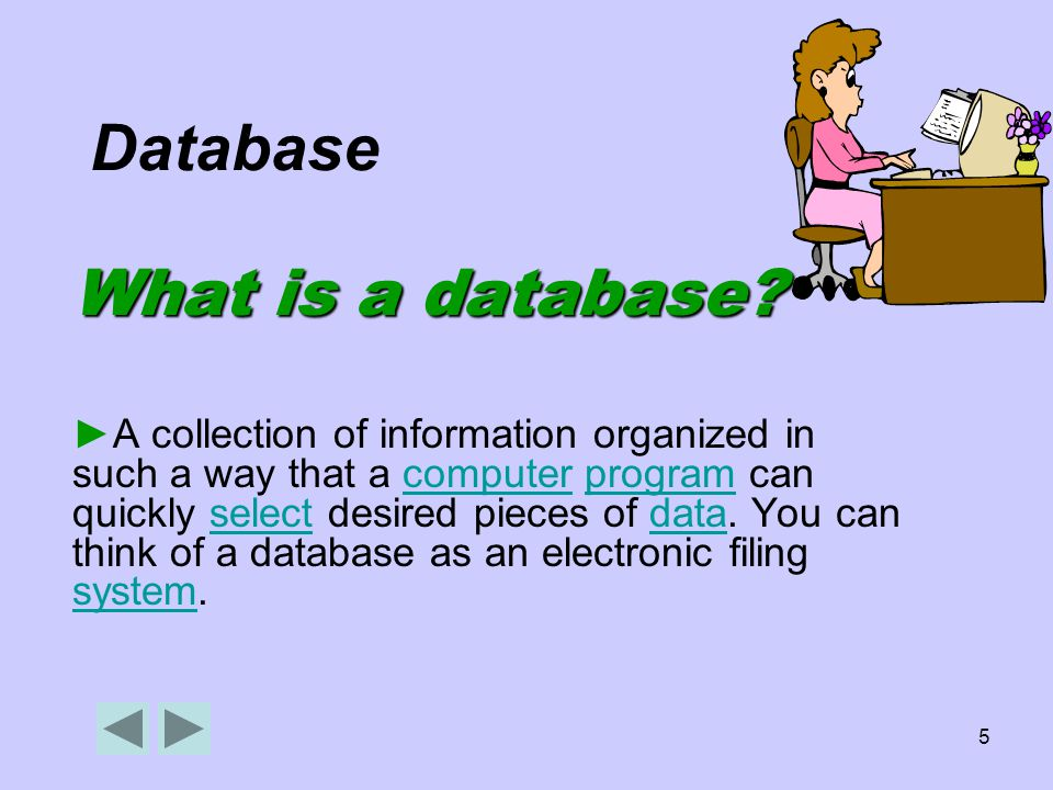 5 Database What is a database.