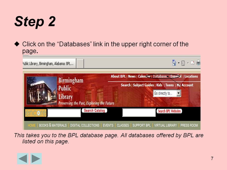 7 Step 2  Click on the Databases link in the upper right corner of the page.