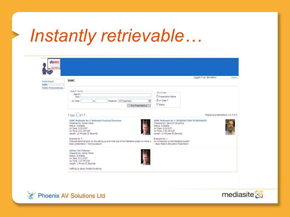 Instantly retrievable…