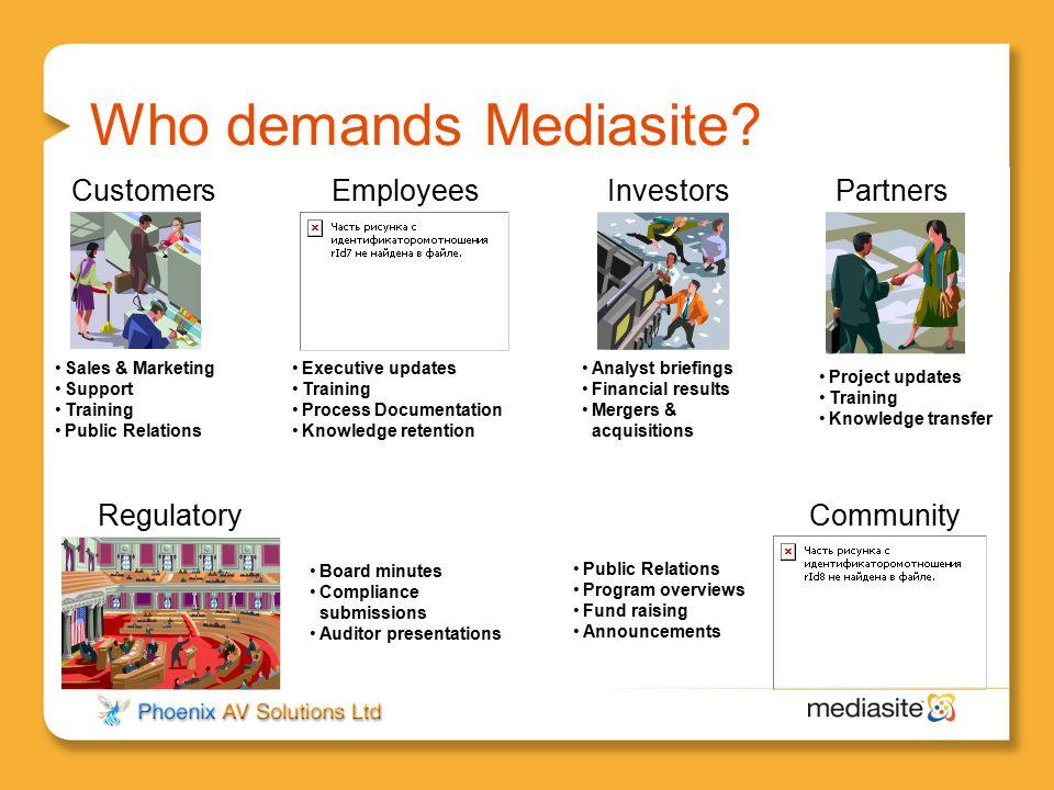 Who demands Mediasite? InvestorsPartnersCustomers Regulatory Employees Executive updates Training Process Documentation Knowledge retention Project up