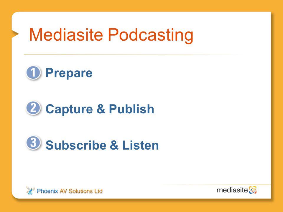 Mediasite Podcasting Prepare Capture & Publish Subscribe & Listen