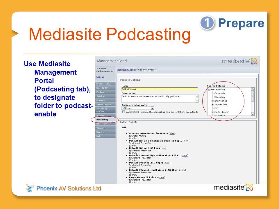 Mediasite Podcasting Use Mediasite Management Portal (Podcasting tab), to designate folder to podcast- enable Prepare