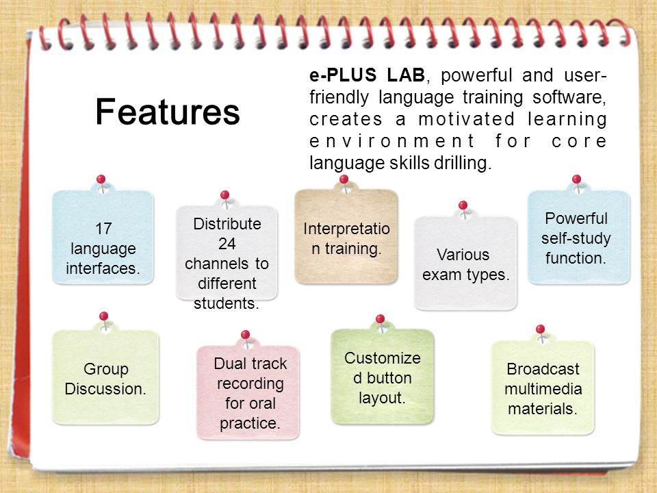 e-PLUS LAB, powerful and user- friendly language training software, creates a motivated learning environment for core language skills drilling. 17 lan