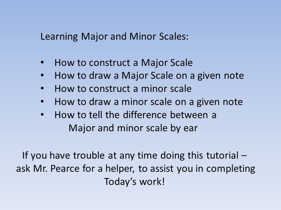 Learning Major and Minor Scales: How to construct a Major Scale How to draw a Major Scale on a given note How to construct a minor scale How to draw a