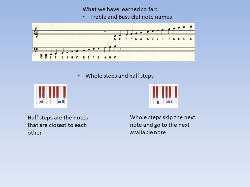What we have learned so far: Treble and Bass clef note names Whole steps and half steps Half steps are the notes that are closest to each other Whole