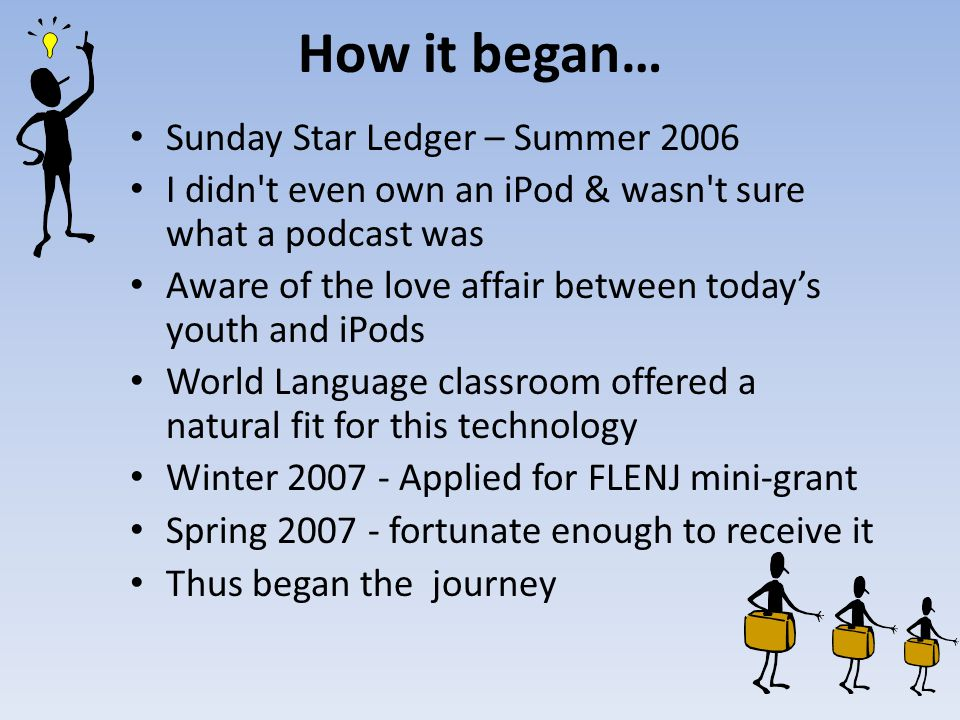 How it began… Sunday Star Ledger – Summer 2006 I didn't even own an iPod & wasn't sure what a podcast was Aware of the love affair between today's you