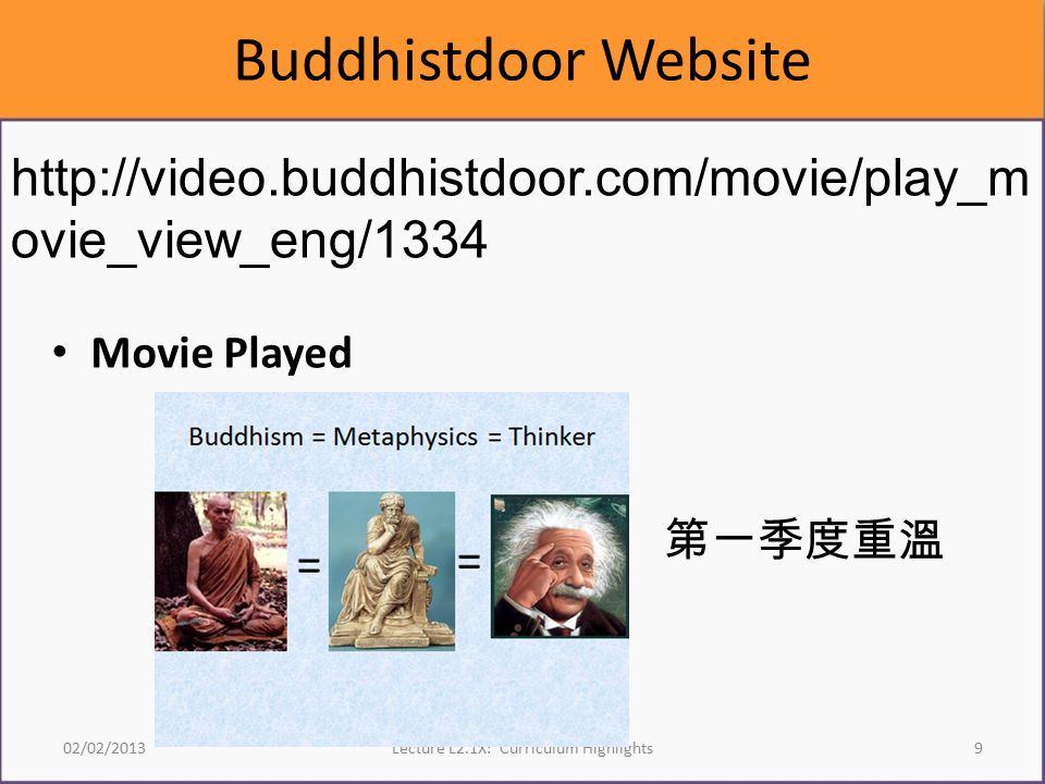 Buddhistdoor Website Movie Played 02/02/2013Lecture L2.1X: Curriculum Highlights9 http://video.buddhistdoor.com/movie/play_m ovie_view_eng/1334 第一季度重溫