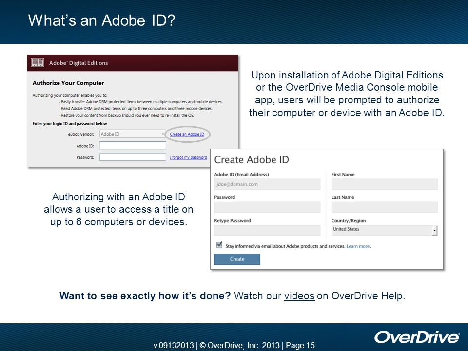 v.09132013 | © OverDrive, Inc. 2013 | Page 15 What's an Adobe ID? Want to see exactly how it's done? Watch our videos on OverDrive Help.videos Upon in