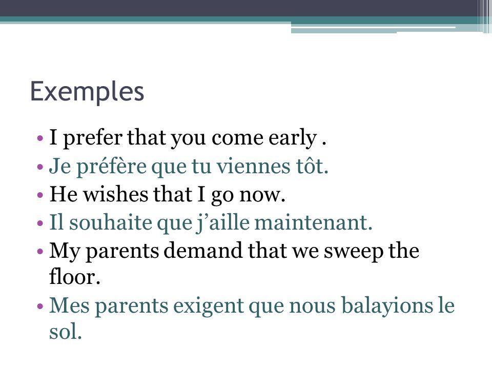 Exemples I prefer that you come early. Je préfère que tu viennes tôt. He wishes that I go now. Il souhaite que j'aille maintenant. My parents demand t