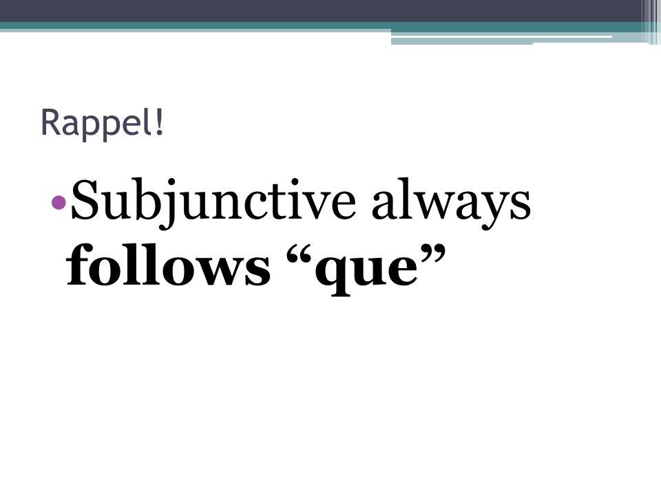 "Rappel! Subjunctive always follows ""que"""