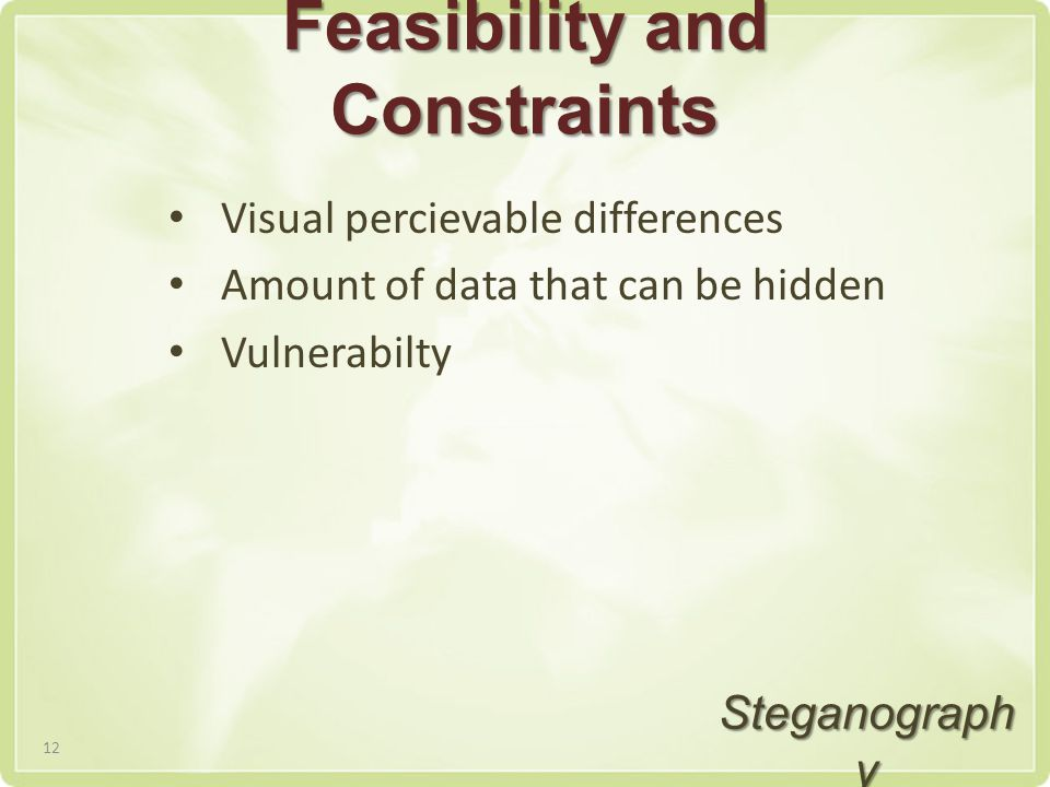 Feasibility and Constraints Visual percievable differences Amount of data that can be hidden Vulnerabilty Steganograph y 12