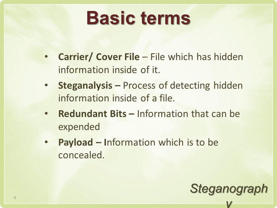 Basic terms Carrier/ Cover File – File which has hidden information inside of it.