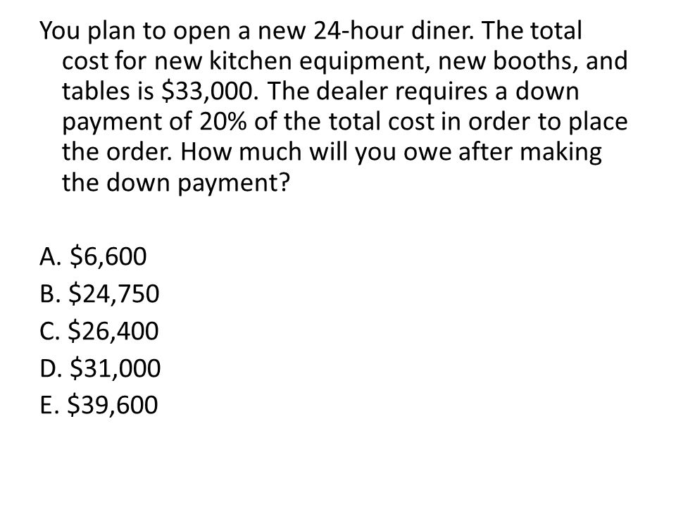 You plan to open a new 24-hour diner. The total cost for new kitchen equipment, new booths, and tables is $33,000. The dealer requires a down payment