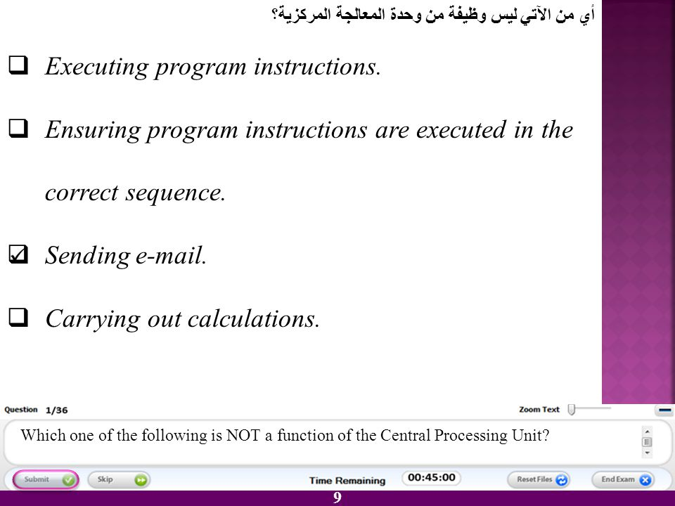 9 EExecuting program instructions. EEnsuring program instructions are executed in the correct sequence. SSending e-mail. CCarrying out calcula
