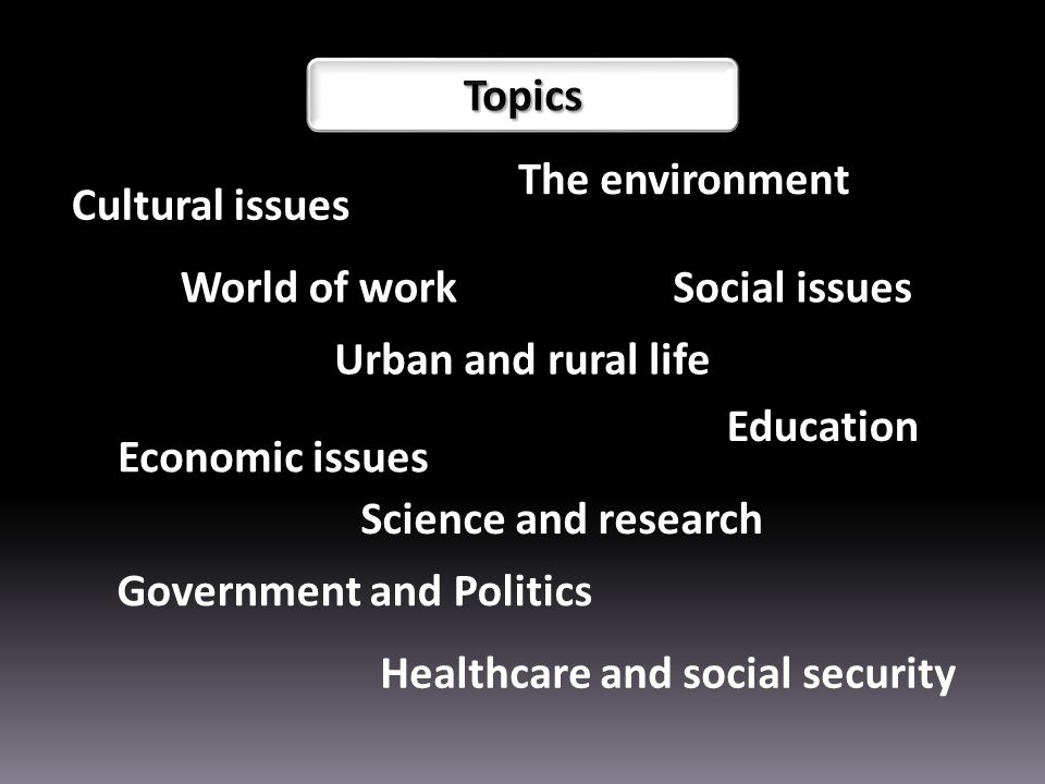 Cultural issues Science and research The environment World of workSocial issues Economic issues Healthcare and social security Government and Politics Education Urban and rural life