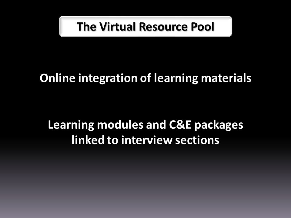 Online integration of learning materials Learning modules and C&E packages linked to interview sections