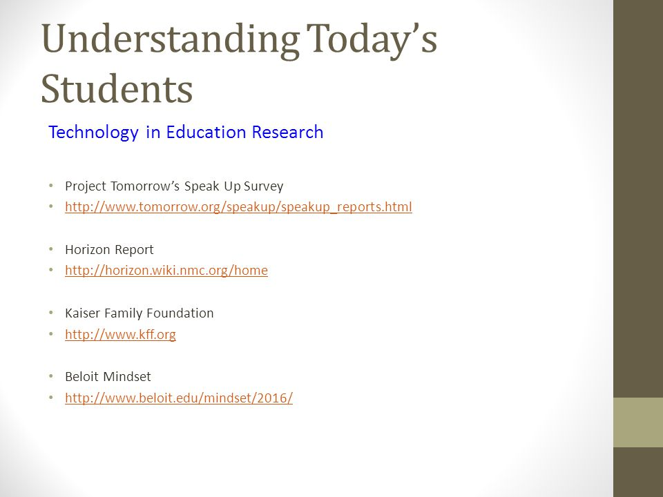 Understanding Today's Students Technology in Education Research Project Tomorrow's Speak Up Survey http://www.tomorrow.org/speakup/speakup_reports.html Horizon Report http://horizon.wiki.nmc.org/home Kaiser Family Foundation http://www.kff.org Beloit Mindset http://www.beloit.edu/mindset/2016/