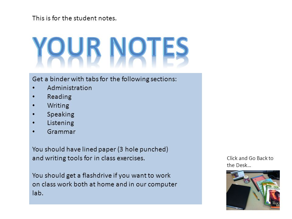 This is for the student notes.