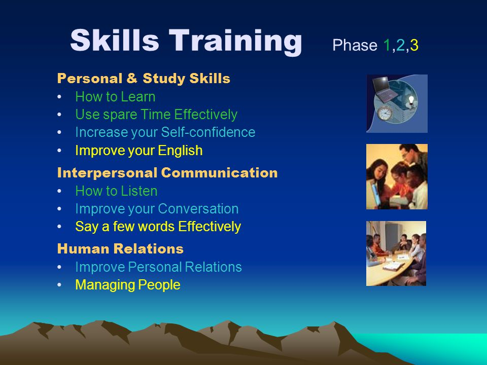 Skills Training Phase 1,2,3 Personal & Study Skills How to Learn Use spare Time Effectively Increase your Self-confidence Improve your English Interpe