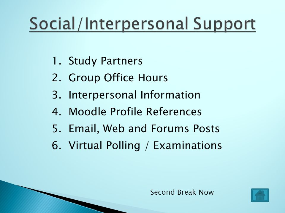 1.Study Partners 2. Group Office Hours 3. Interpersonal Information 4.