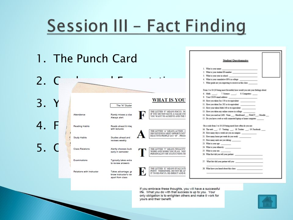 1. The Punch Card 2. Grades and Expectations 3. Your FATE 4. Factual Revelations 5. Our First Questionnaire