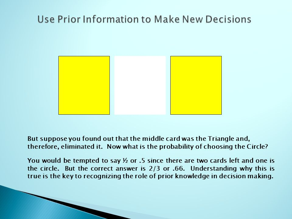 But suppose you found out that the middle card was the Triangle and, therefore, eliminated it.