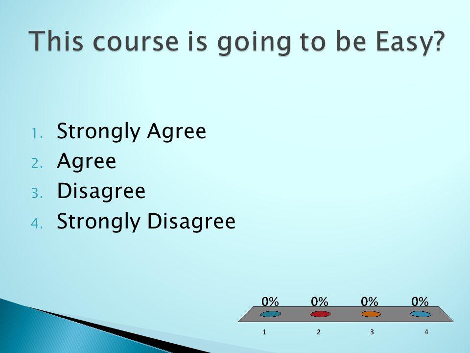 1. Strongly Agree 2. Agree 3. Disagree 4. Strongly Disagree