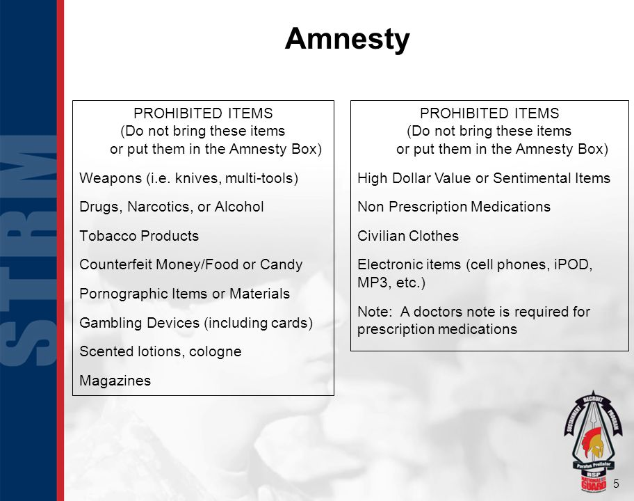 5 Amnesty PROHIBITED ITEMS (Do not bring these items or put them in the Amnesty Box) Weapons (i.e.