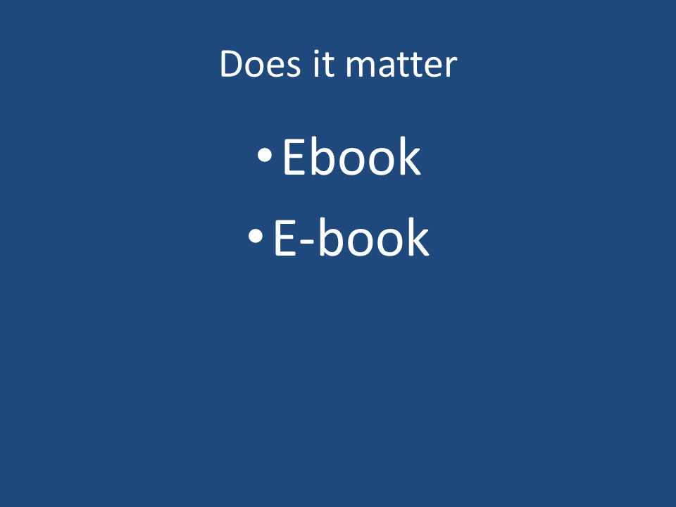 Does it matter Ebook E-book
