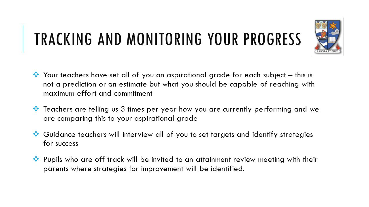 TRACKING AND MONITORING YOUR PROGRESS  Your teachers have set all of you an aspirational grade for each subject – this is not a prediction or an estimate but what you should be capable of reaching with maximum effort and commitment  Teachers are telling us 3 times per year how you are currently performing and we are comparing this to your aspirational grade  Guidance teachers will interview all of you to set targets and identify strategies for success  Pupils who are off track will be invited to an attainment review meeting with their parents where strategies for improvement will be identified.