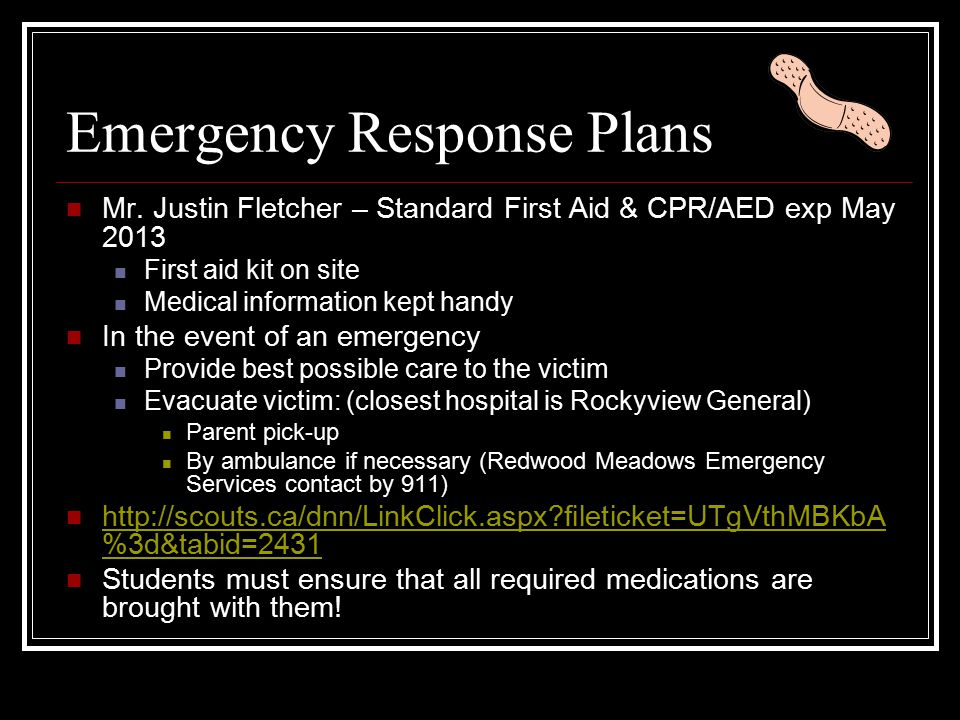 Emergency Response Plans Mr.