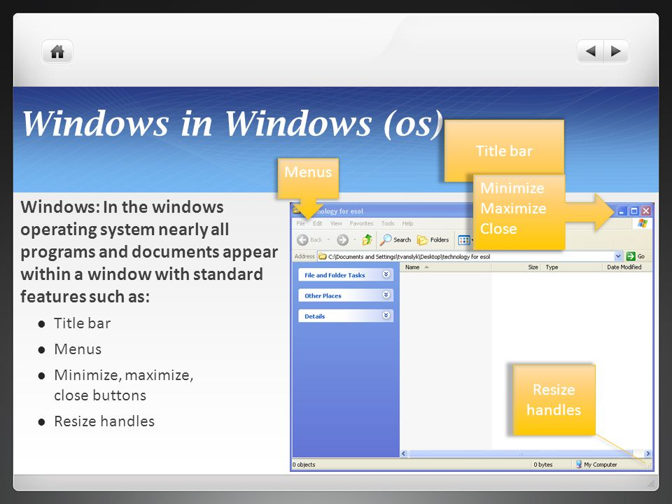 Windows in Windows (os) Windows: In the windows operating system nearly all programs and documents appear within a window with standard features such