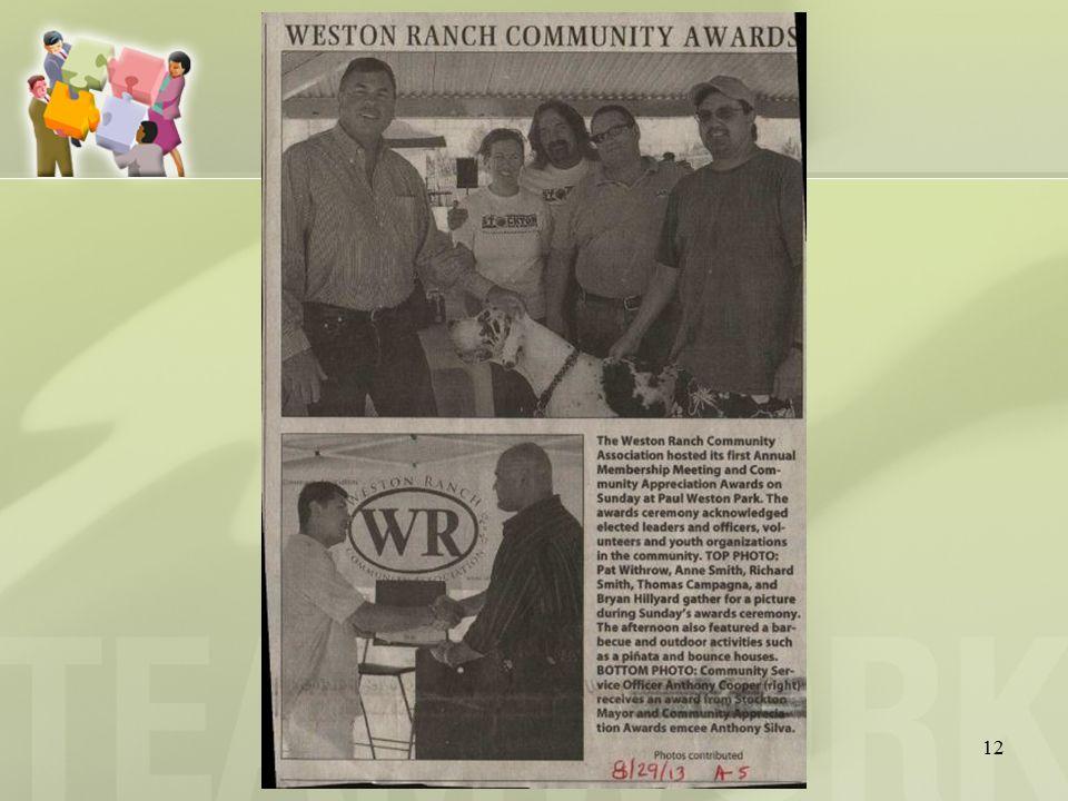 13 ANNUAL MEMBERSHIP MEETING OF WESTON RANCH COMMUNITY ASSOCIATION