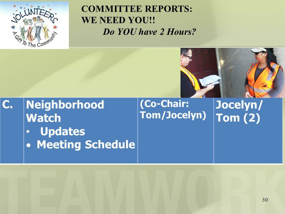 30 C.Neighborhood Watch Updates  Meeting Schedule (Co-Chair: Tom/Jocelyn) Jocelyn/ Tom (2) COMMITTEE REPORTS: WE NEED YOU!.
