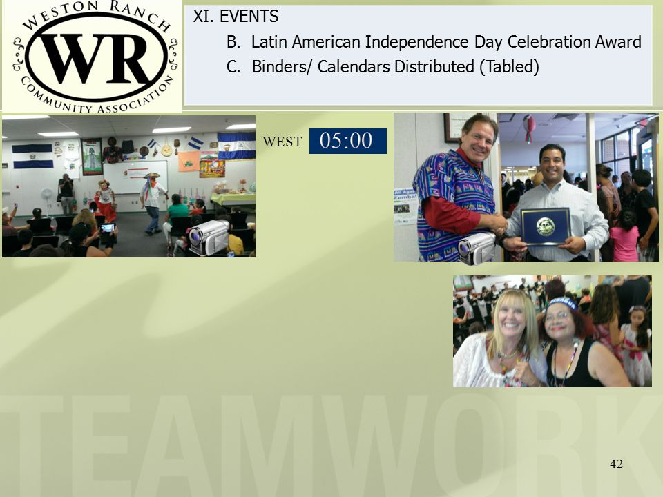 42 XI. EVENTS B. Latin American Independence Day Celebration Award C.